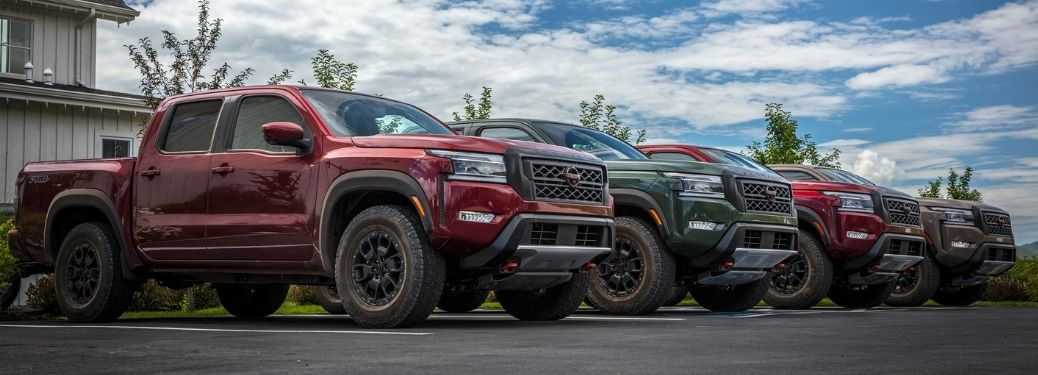 2022 Nissan Frontier lineup in a row
