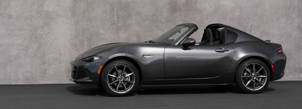 Driver side exterior view of a gray 2018 Mazda MX-5 RF