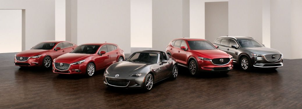 Front exterior view of five stylish Mazda models