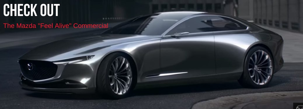 """Check Out the Mazda """"Feel Alive"""" Commercial, text on an image of the Vision Coupe, Next Generation Mazda Design"""