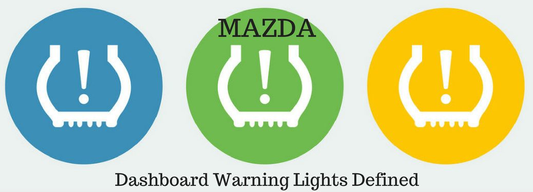 """Mazda Dashboard Warning Lights Defined, text on an image of colorful """"low tire pressure"""" warning lights"""