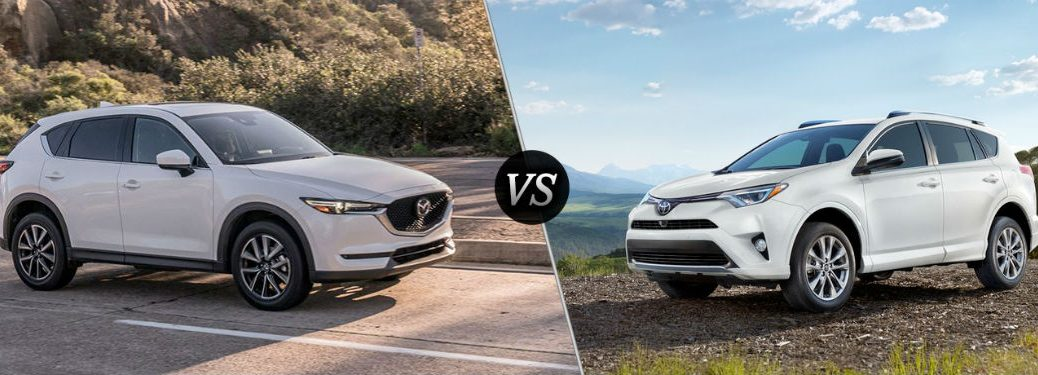 """Passenger side exterior view of a white 2018 Mazda CX-5 on the left """"vs"""" driver side exterior view of a white 2018 Toyota Rav4 on the right"""