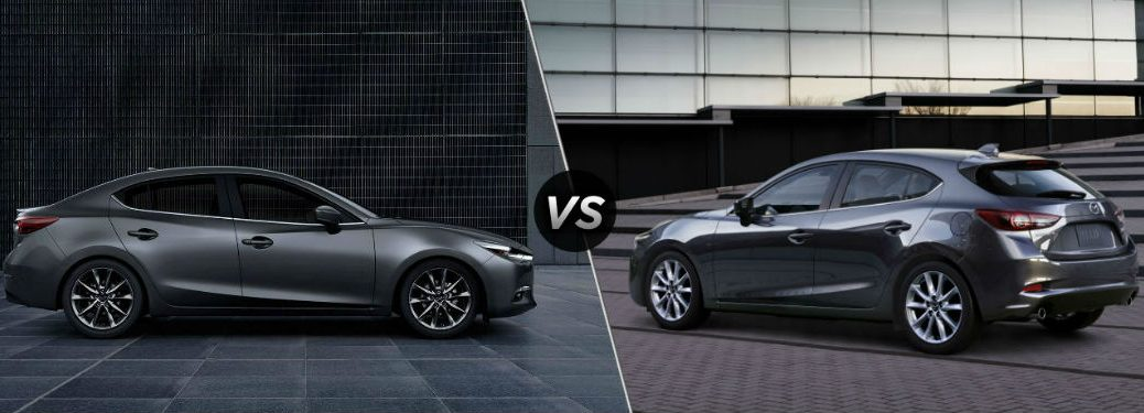 """Passenger side exterior view of a gray 2018 Mazda3 4-door on the left """"vs"""" driver side exterior view of a gray 2018 Mazda3 5-door on the right"""