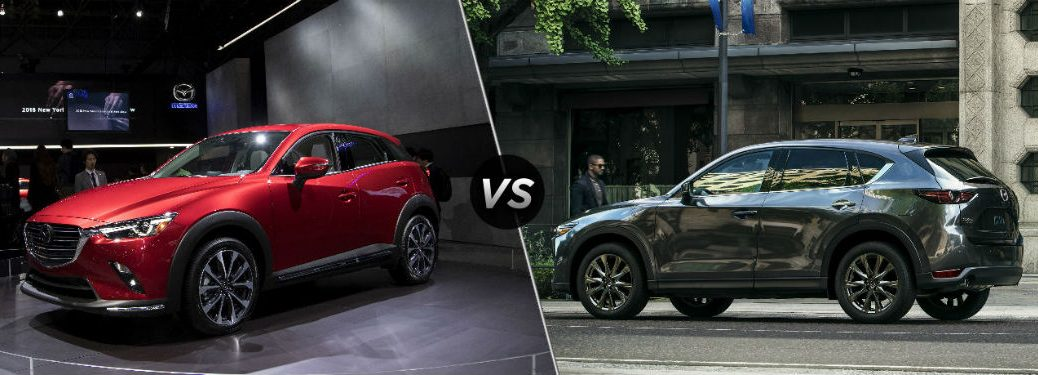 """Front driver side exterior view of a red 2019 Mazda CX-3 on the left """"vs"""" driver side exterior view of a gray 2019 Mazda CX-5 on the right"""