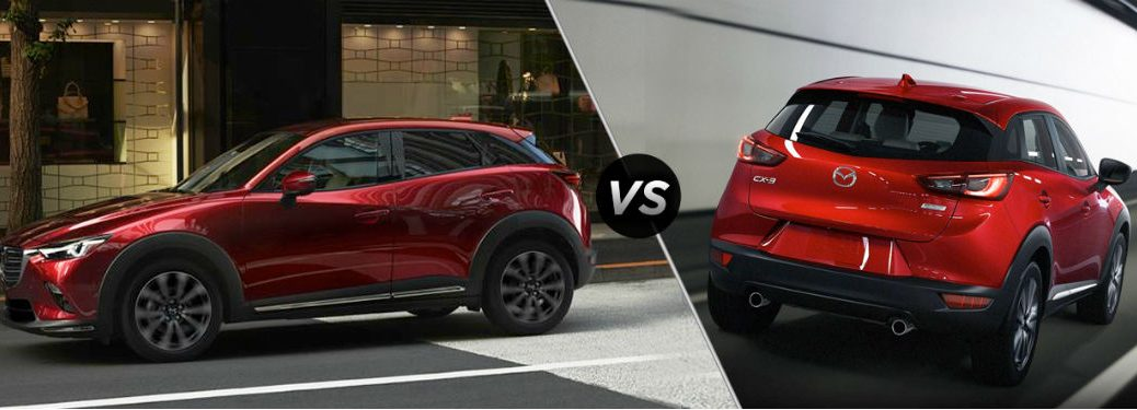 """Driver side exterior view of a red 2019 Mazda CX-3 on the left """"vs"""" rear exterior view of a red 2018 Mazda CX-3 on the right"""