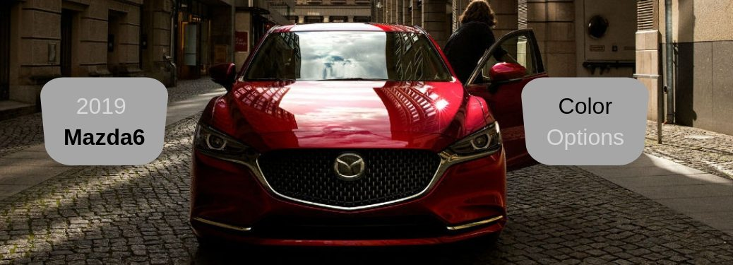 2019 Mazda6 Color Options, text next to a front exterior image of a red 2019 Mazda6