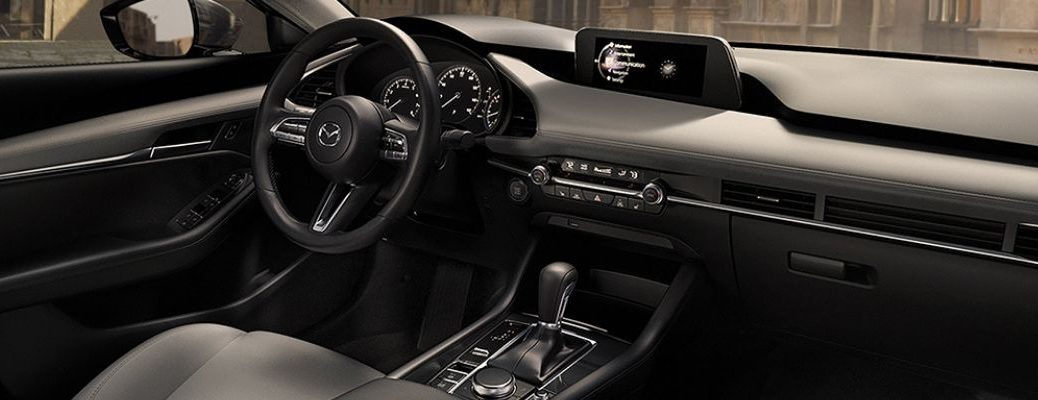 Interior view of the front area inside a 2019 Mazda3