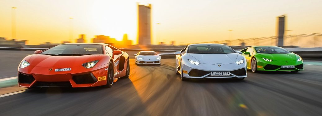 Lamborghini Huracan models on a track front view
