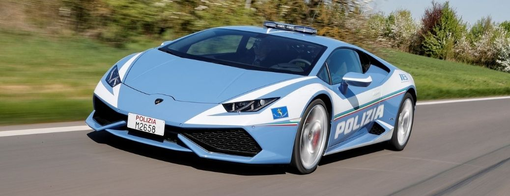 front view of a Lamborghini being used as a police car