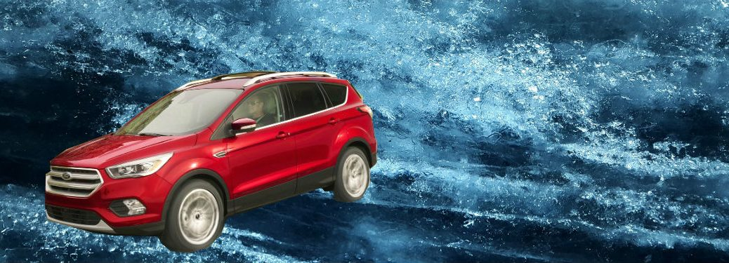 2018 Ford Escape In Red Against Icy Background