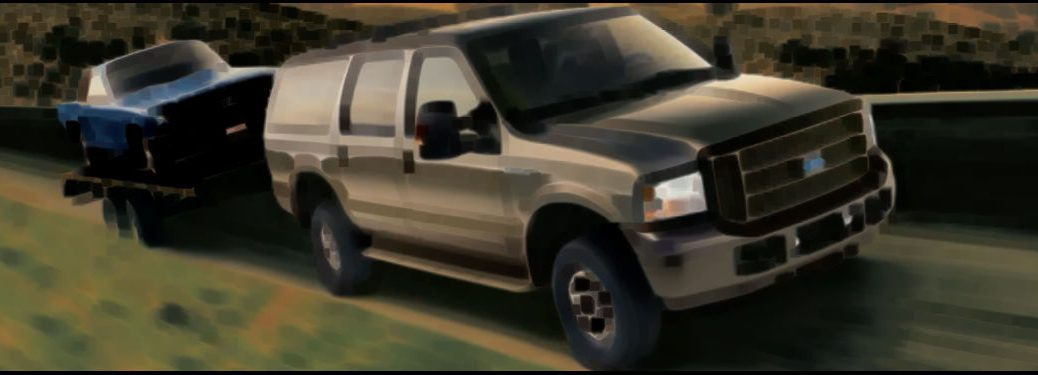 Pastel Photo Of 2005 Ford Excursion Towing A Mustang