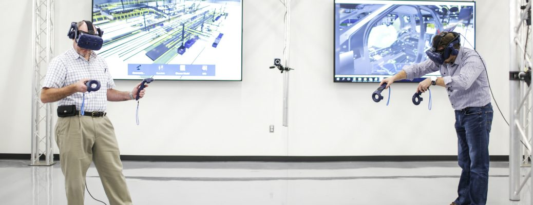 Ford employees utlizing VR equipment at the Ford Advanced Manufacturing Center