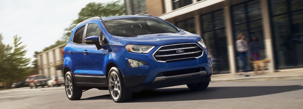 Front view of blue 2019 Ford EcoSport