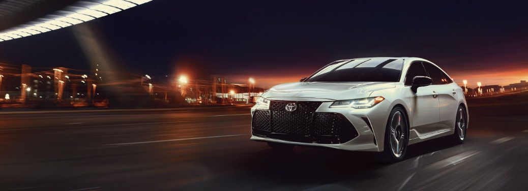 """2019 Toyota Avalon """"Serious Play"""" Campaign with image of a 2019 Toyota Avalon Touring Prototype in Wind Chill Pearl with available Advanced Safety Package"""