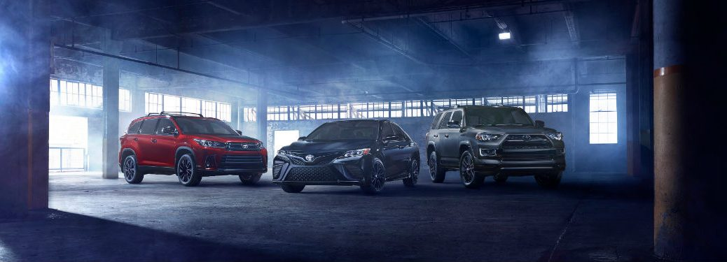 2019 Toyota Camry and Highlander Nightshade Special Editions with image of the 2019 Toyota Nightshade lineup in a dark warehouse