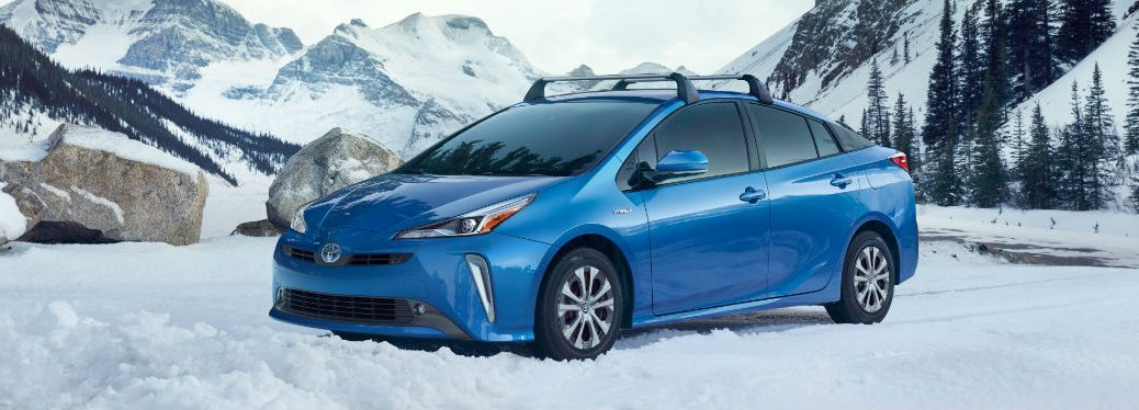 2019 Toyota Prius with Electric All-Wheel Drive in snow