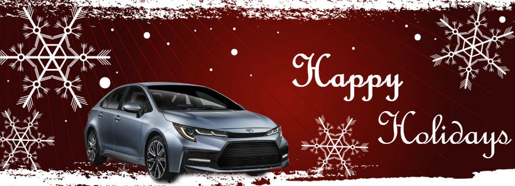 Festive Toyota Instagram Photos with image of a 2020 Toyota Corolla