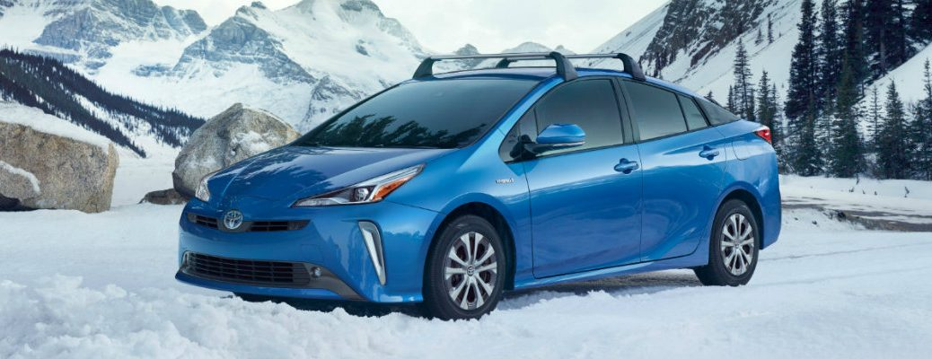 Blue 2019 Toyota Prius in the snow