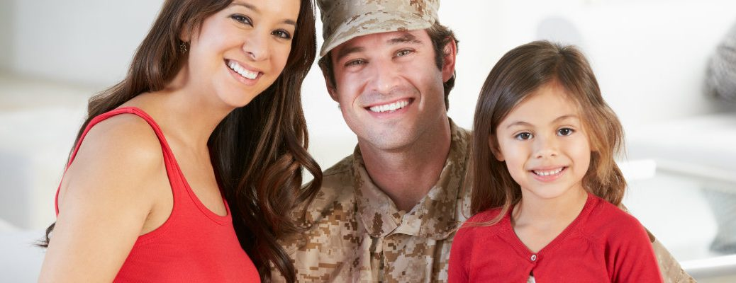 Family with father serving in the military
