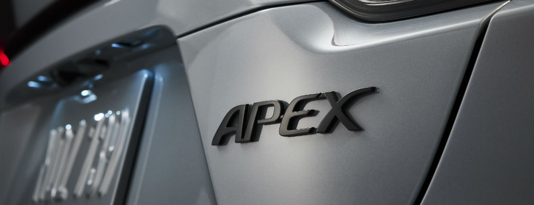 Closeup of Apex badge on 2021 Toyota Corolla Apex