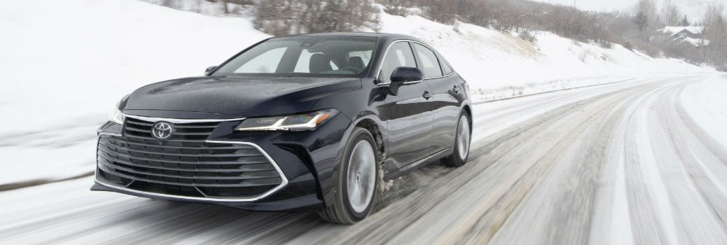 2021 Toyota Avalon Limited AWD Exterior Driver Side Front Angle in Snow