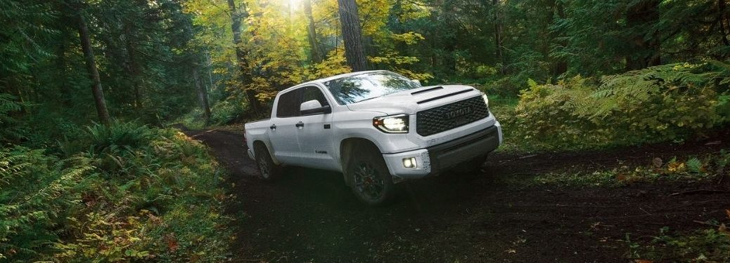 2021 Toyota Tundra exterior front fascia passenger side on wooded hill