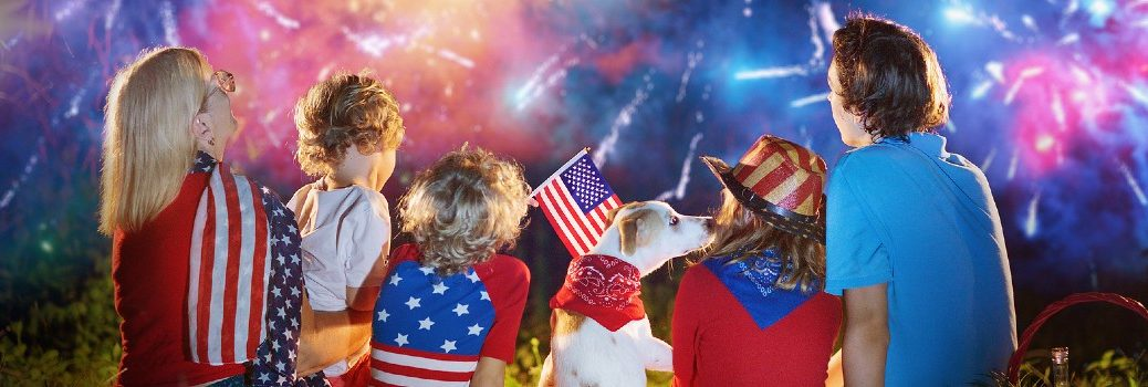 American Family Celebrating 4th of July with Fireworks