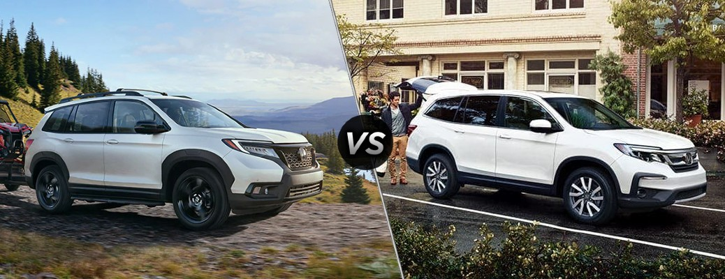 Comparison image of a white 2020 Honda Passport and a white 2020 Honda Pilot