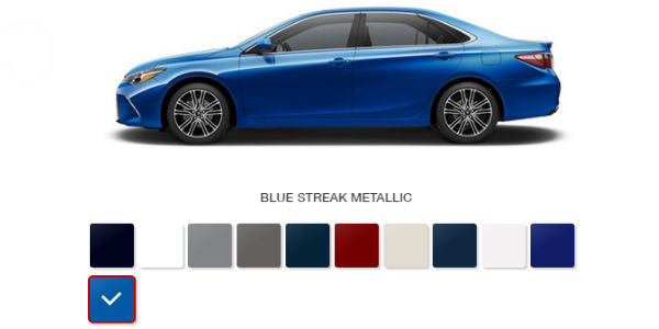 2016 Toyota Camry Color Palette And Options