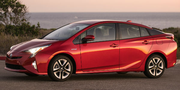 Red 2016 Toyota Prius Side Exterior