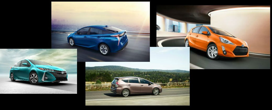 Collage of Toyota Prius Models with black background