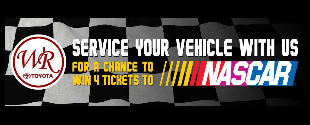 Banner for White River Toyota NASCAR Ticket Giveaway on a Black background