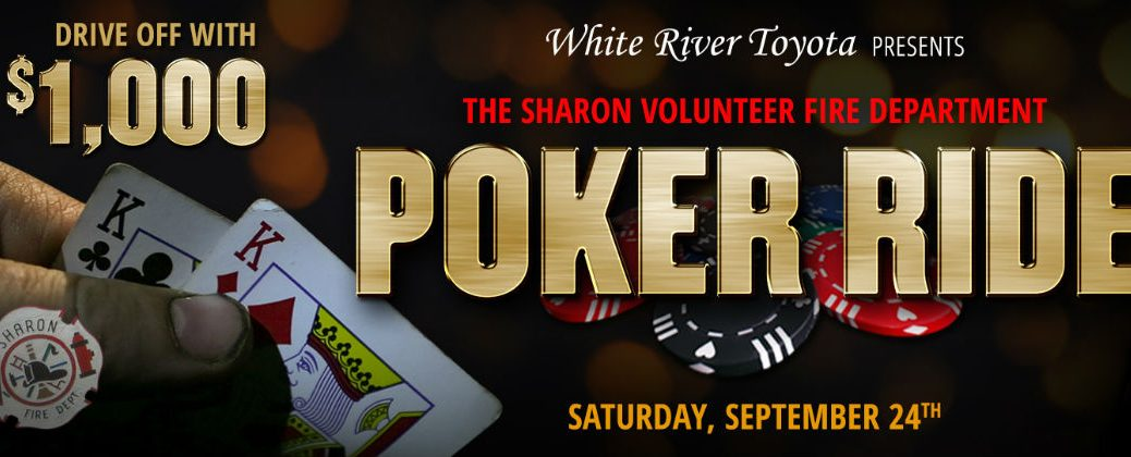 White River Toyota 2016 Sharon Volunteer Fire Department Poker Run Banner with Hand Holding Cards at Poker Table