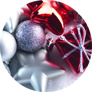 Close Up of Red, Silver and White Christmas Ornaments
