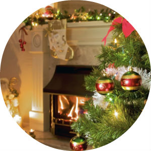 Fireplace with Christmas Tree and ornaments