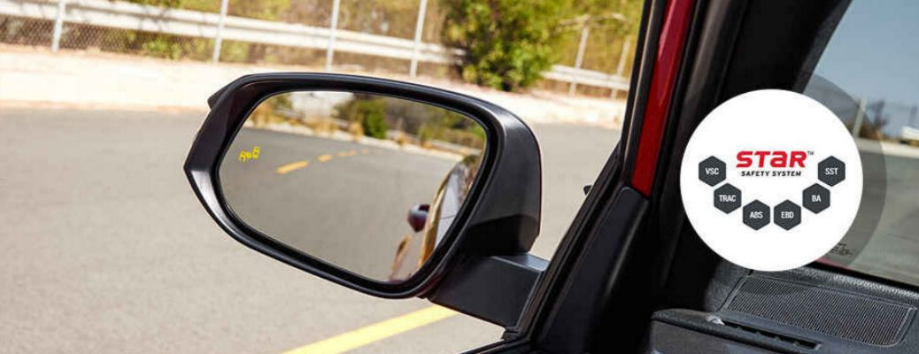 Toyota RAV4 Mirror with Blind Spot Warning and STAR Safety Logo
