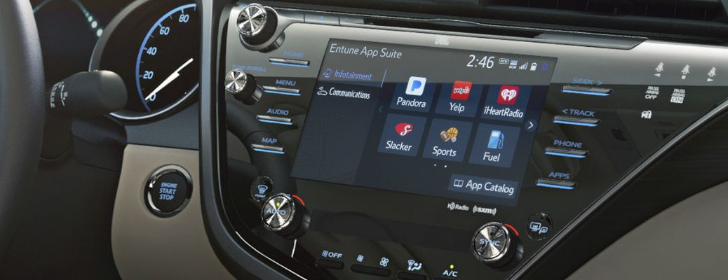 A close up of the touchscreen interface for the new Toyota Entune 3.0 system