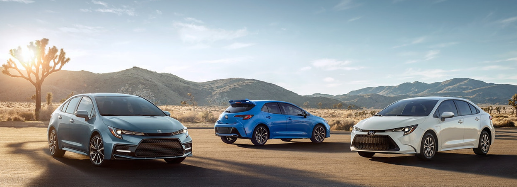 2020 Toyota Corolla parked outside with two others.