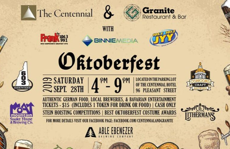 Oktoberfest 2019 advertising from Granite Restaurant and Bar