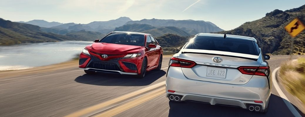two 2021 Camry going in opposite directions