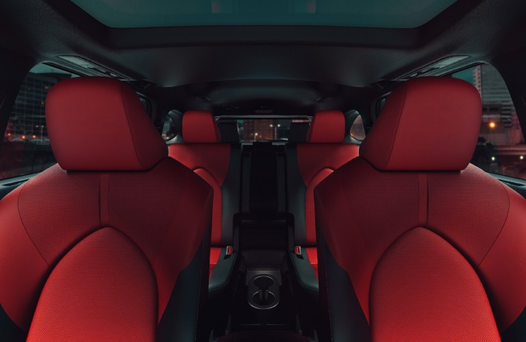 The red seats of the 2021 Toyota Highlander