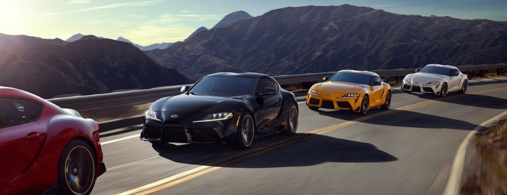 2021 Toyota GR Supra driving on the mountain road.