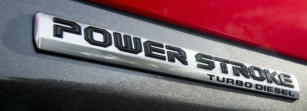 2018 ford f-150 power stroke diesel badge on red truck