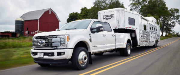 2017 Ford Super Duty towing large trailer