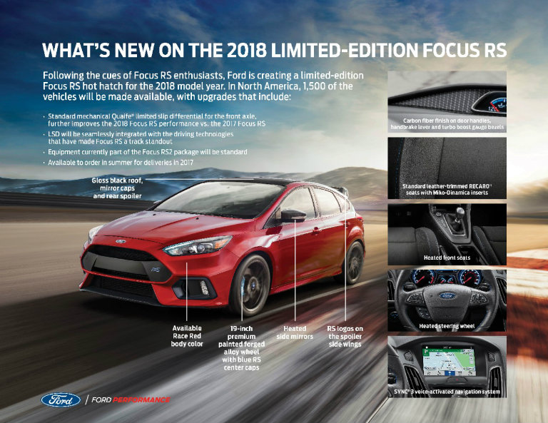 Image graphic about new enhancements on the 2018 Ford Focus RS hot hatch