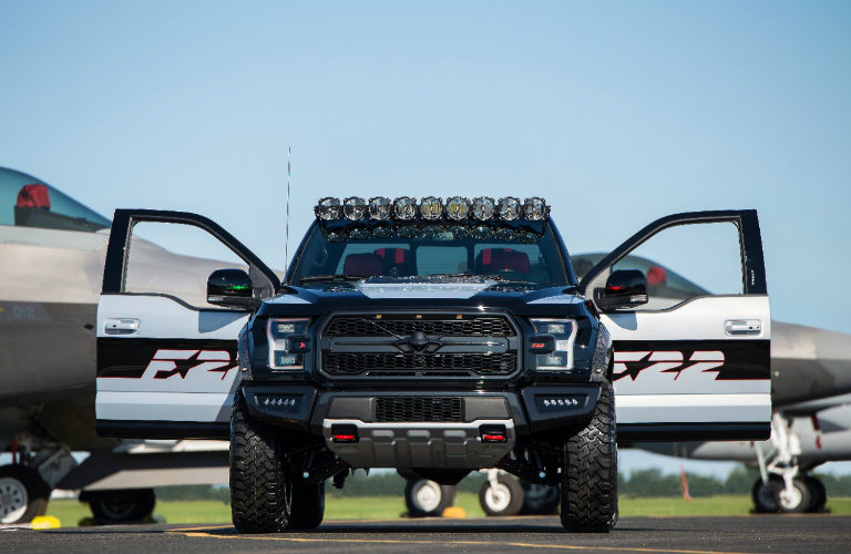 front view of the U.S. Air Force High Performance F-22 F-150 Raptor with both front doors open