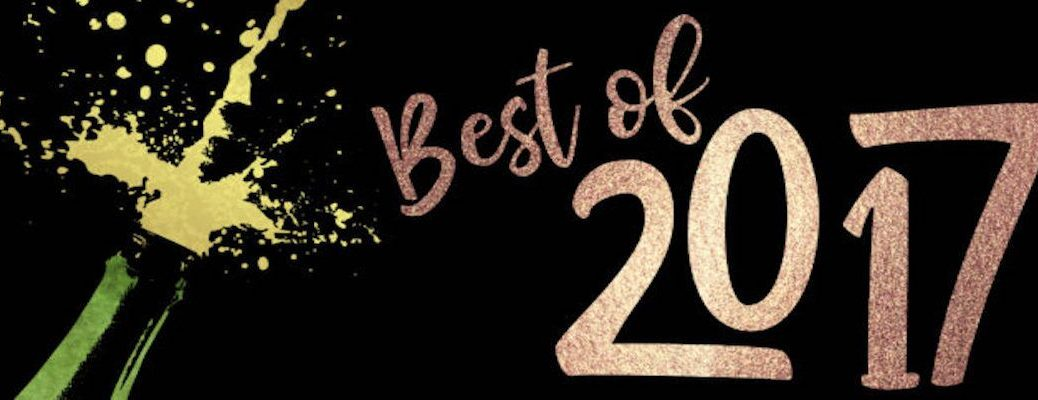 Best of 2017 Sign with Champagne Bottle Popping