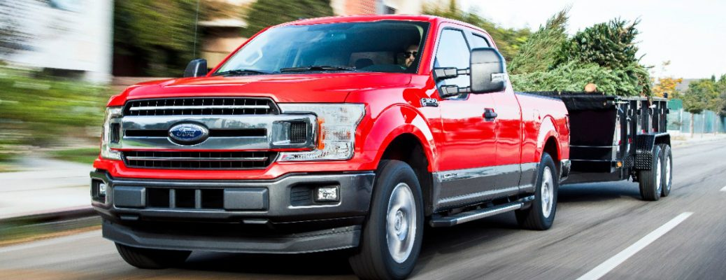 2018 F-150 with Diesel Engine Towing a Trailer