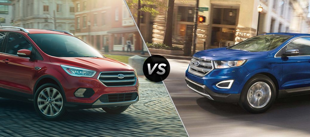 A match up picture between a red ford escape and a 2018 blue ford edge