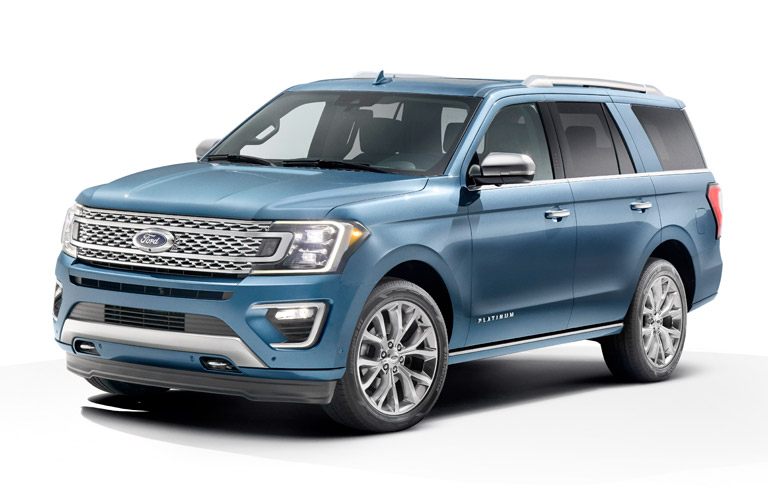 Blue 2018 Ford Expedition positioned on white background